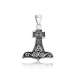 Thors Hammer Celtic Knot .925 Sterling Silver Pendant