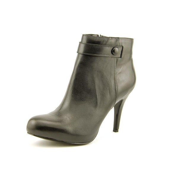 Nine West Go With It O Women Round Toe Leather Black Ankle Boot