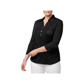 Karen Scott Womens Plus Polo Top Long Sleeve Day To Night