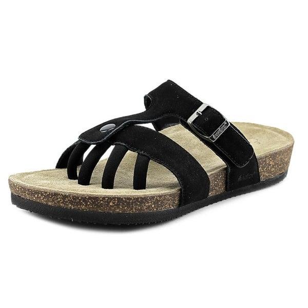 Wellrox Sedona Women Open Toe Leather Black Slides Sandal