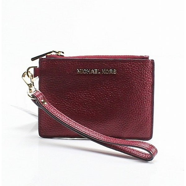 bfdf02274409 Shop Michael Kors Maroon Red Pebble Leather Mercer Small ID Coin ...