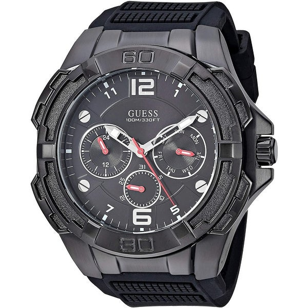 Guess Men's W1254G2 Genesis Black Watch With Silicone Strap - 1 Size. Opens flyout.