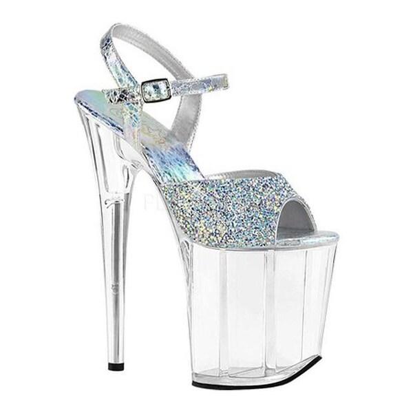 cc3bd1551c Pleaser Women's Flamingo 809RS Platform Ankle Strap Sandal Silver  Hologram Synthetic/