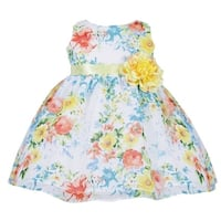 Baby Girls Blue Floral Print Chiffon Flower Girl Dress 6-24M