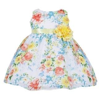 Baby Girls Blue Floral Print Chiffon Flower Girl Dress 6-24M