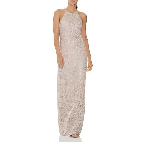 Halston Womens Evening Dress Lace Metallic - Beige