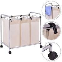 Costway Laundry Cart Basket Triple Bag Clothes Storage