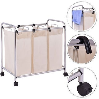 Costway Laundry Cart Basket Triple Bag Clothes Storage