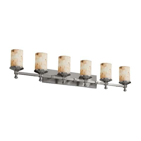 Justice Design Alabaster Rocks!? Deco 6-Light Brushed Nickel Bath Bar, Alabaster Rocks Cylinder w/ Flat Rim Shade