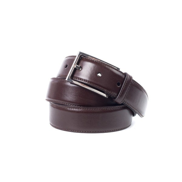 Brunello Cucinelli Auburn Leather Silver Square Buckle Belt