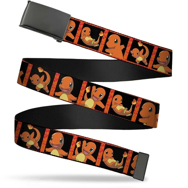 Blank Black Buckle Charmander Block Poses Black Flames Webbing Web Belt