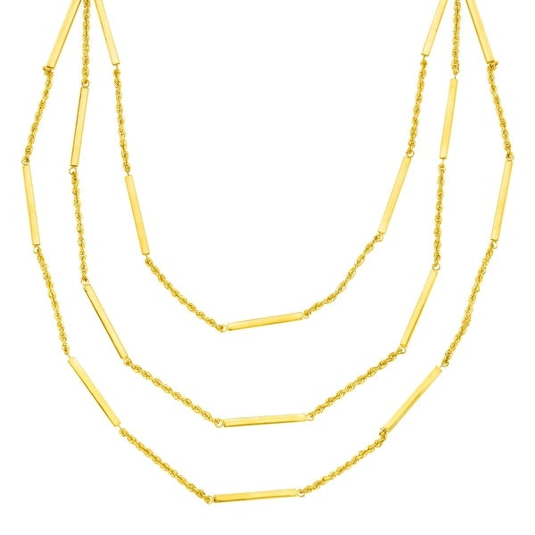 Eternity Gold Layered Tube Station Necklace in 14K Gold