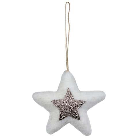 """3.75"""" White and Silver Star Hanging Christmas Ornament"""