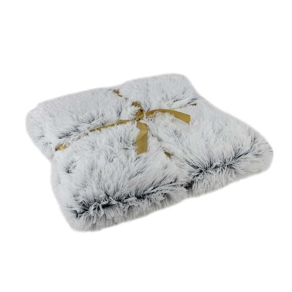 "Plush Gray Faux Fur Decorative Throw Blanket 55"" x 62"""