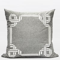 """G Home Collection Luxury Gray Textured Frame Embroidered Pillow 20""""X20"""""""