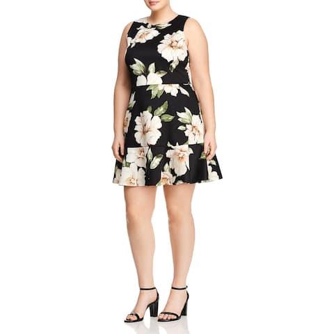 Love Ady Womens Plus Scuba Dress Floral Print Ruffle