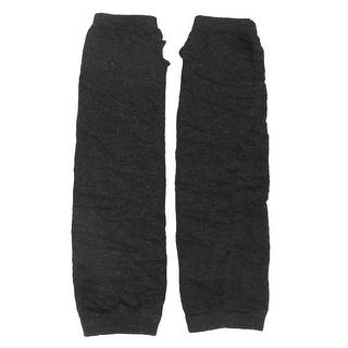 Unique Bargains Women Knitted Fingerless Winter Arm Warmer Gloves Gray Black