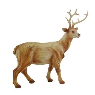 Decorative Faux Finish Carved Woodland Deer Statue 10 in. - Brown