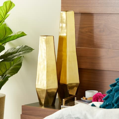 "Modern Geometric Gold Metal Vases Set of 2 19"" 26"""