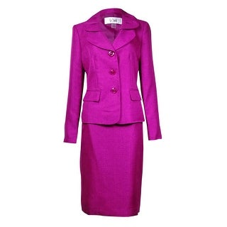 Le Suit Women's Quebec Pleated Pocket Sheen Skirt Suit