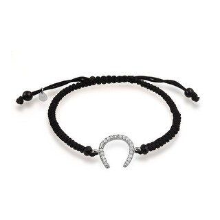 Bling Jewelry CZ Lucky Horseshoe Natural Onyx Bead Macrame Bracelet Silver - Black