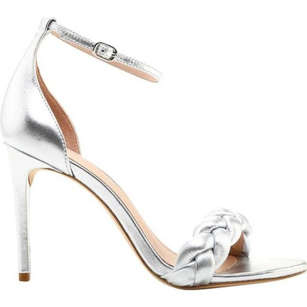 47523c4bd176 Rachel Zoe Women  x27 s Ashton Braided Metallic Leather Ankle Strap Sandal  Silver Metallic
