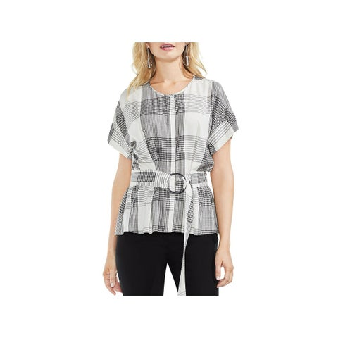 Vince Camuto Womens Button-Down Top Glen Plaid Belted