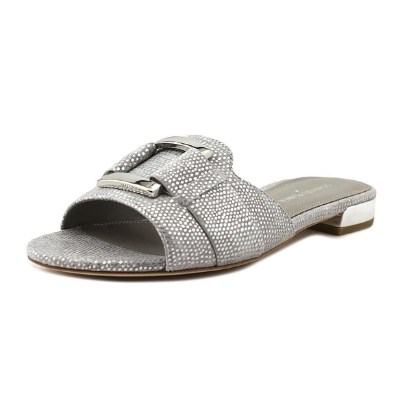 Donald J Pliner Falta Women Open Toe Leather Silver Slides Sandal