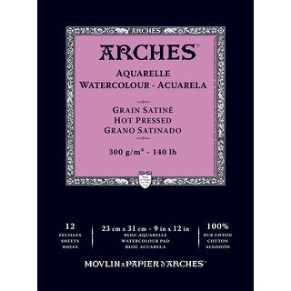 Arches Acid-Free Hot Press Aquarelle Watercolor Pad, 140 Pounds, 9 X 12 in, 12 Sheets, Natural White