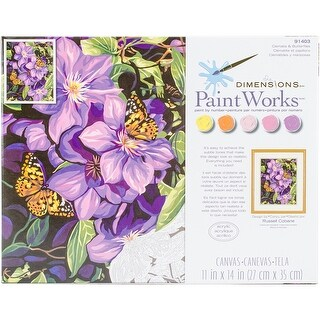 "Paint Works Paint By Number Kit 11""X14""-Clematis & Butterflies"