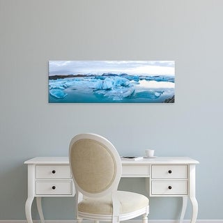 Easy Art Prints Panoramic Images's 'Icebergs floating in glacial lake, Jokulsarlon, South Iceland, Iceland' Canvas Art