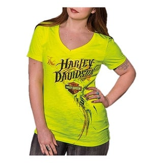 Harley-Davidson Women's Foiled Little Wings Raw Edge Burnout Tee, Safety Yellow