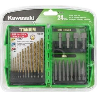 Kawasaki 24 pc Drill & Driver Bit Set - 841618 - Green/Black