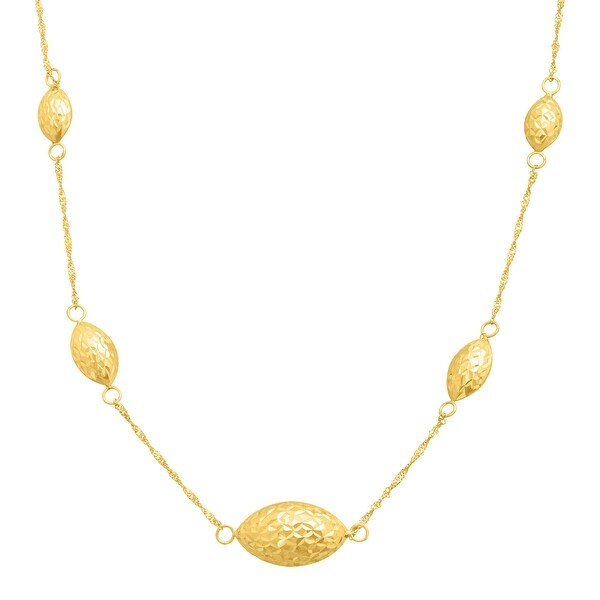 Just Gold Puffed Section Station Necklace in 14K Gold
