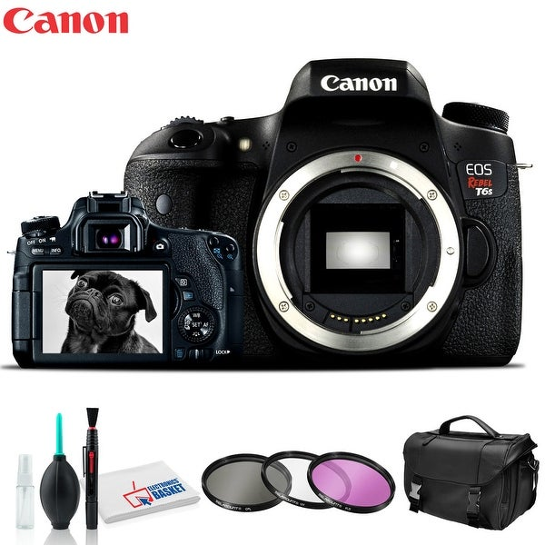 CanonEOS Rebel T6s DSLR Camera with Cleaning Kit, Carry Case, Memory. Opens flyout.