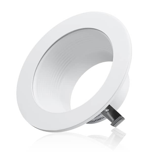 """6/"""" 6 Inch Black Baffle White Ring Recessed Can Light Housing Trim 1 Pack"""