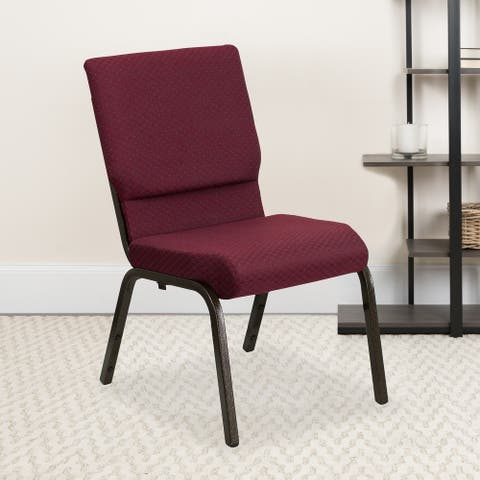 Embroidered HERCULES Series 18.5''W Church Chair with Book Rack