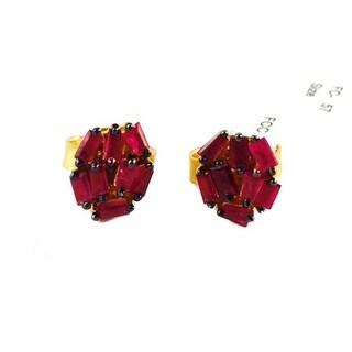 Genuine Ruby Baguette Stud Earring, 925 Sterling Silver Ruby Baguette Stud, Baguette Stud, Ruby Stud Earring