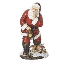 Pack of 2 Traditional Style Santa Claus with Sleeping Deer and Lantern Table Top Figurine 18""