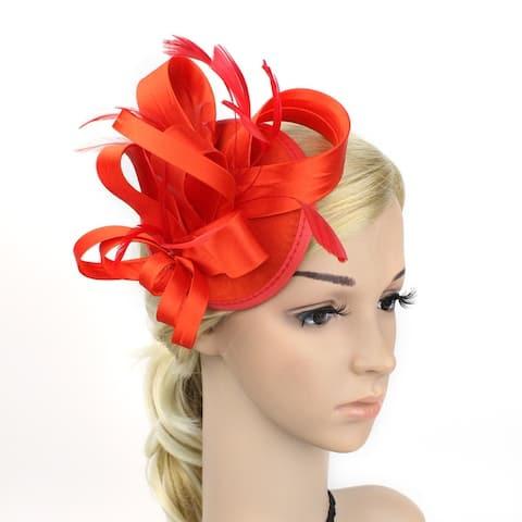 Women's Feather Pillbox Hat Flower Derby Hat Fascinator Hair Clip Hat