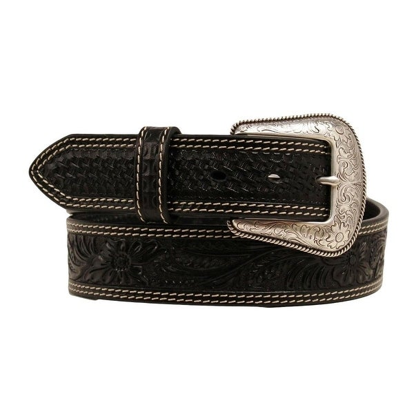 Nocona Western Belt Mens Fun Embossed Oval Concho Studs