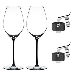 Riedel Fatto A Mano Champagne Glass Black - Set of Two with 2 Champagne Stoppers