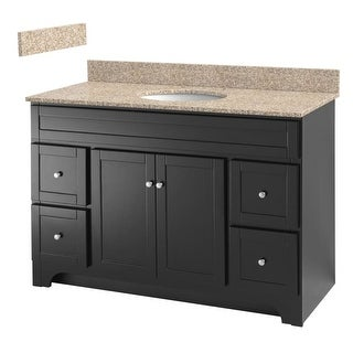 "Foremost WRAT4821D-8W Worthington 48"" Free Standing Vanity Set with Wood Cabinet, Mohave Beige Granite Top and One Undermount"