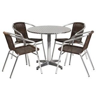 Skovde 5pcs Round 31.5'' Aluminum Table w/4 Dark Brown Rattan Chairs