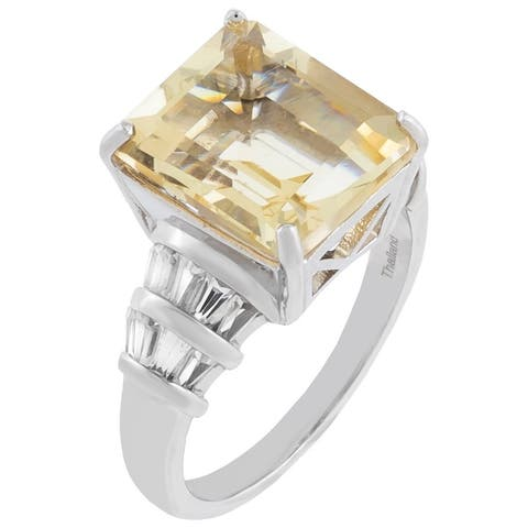 6.30cttw Emerald-Cut Yellow Sunstone Engagement Ring, Sterling Silver