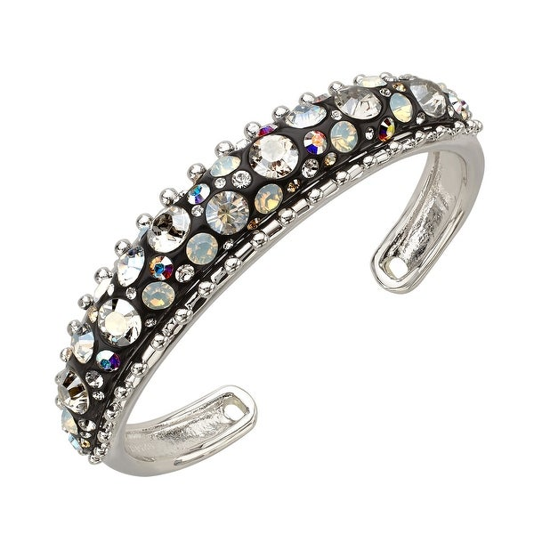 Crystaluxe Black Resin Dome Cuff with Swarovski elements Crystals in Sterling Silver