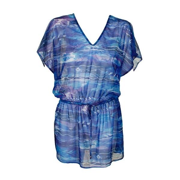 0ed04bcef2e77 Shop Lauren Ralph Lauren Blue Calypso Ikat-Print Tunic Cover Up M ...