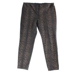 Alfani NEW Black Printed Women's Size 14 Skinny Comfort-Waist Pants