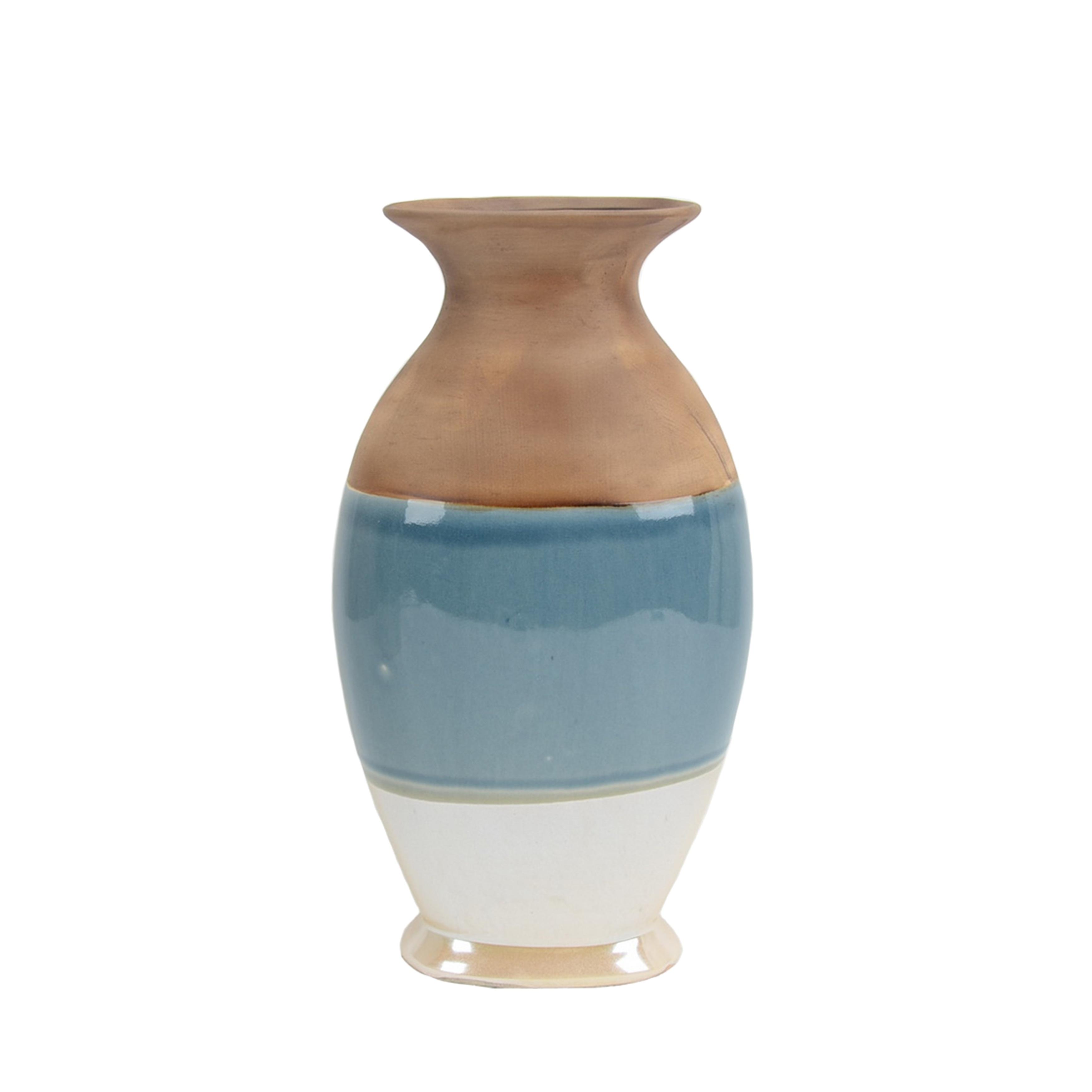 Decorative Urn Shape Ceramic Vase with Flared Opening and Bottom Rim, Multicolor