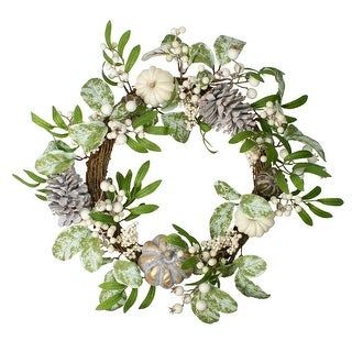 Link to Pumpkin, Berries and Leaves Twig Artificial Thanksgiving Wreath - 20 Inch, Unlit Similar Items in Thanksgiving Decorations